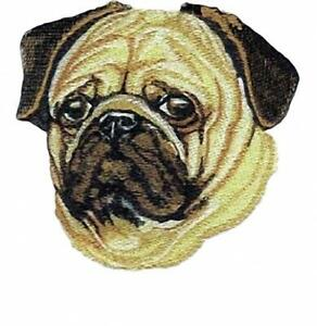 Machine Embroidered Applique Pug size 5.2W X 4.9H  or 2.6W X 2.4H
