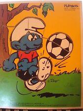Vintage Playskool Wood Tray Puzzle SMURFS Soccer Star 1982 Smurf Peyo Bernie