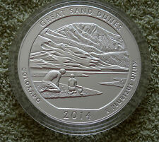 """2014 America the Beautiful Five Ounce Silver Uncirculated Coin""""Great Sand Dunes"""""""