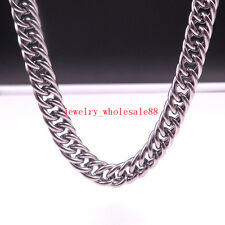 Stainless Steel Double Curb Link Chain  Necklace Men's Holiday gifts 9mm 24''