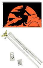 3x5 Happy Halloween Witch Flag White Pole Kit Set 3'x5'