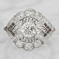 2 CT White Round Diamond Art Deco Filigree Wedding Ring 14K White Gold FN 925 SS