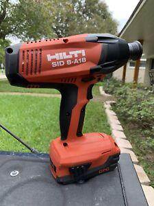 HILTI SID 8-A18 with 18V Li-Ion Battery, Tool Bag, and Mini Hilti Flashlight