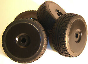 B7033B 1/8 Scale On Road Wheels and Tyres RC Nitro Buggy Black x 4