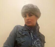 Hat Grey Russian Mink Fur Beret Style.