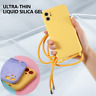 Liquid Silicone Case For iPhone 11 Pro Max Lanyard Camera Protection Soft Cover