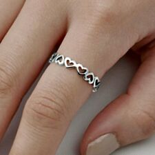 .925 Sterling Silver Ring size 8 Heart Midi Knuckle Thumb Fashion Ladies New p57