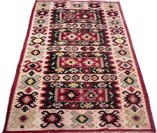 """Antique vintage tribal unique handmade hand-knotted rug 39 """"x 69"""" pure wool  #86"""
