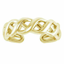 Yellow Gold Over Womens Foot Jewelry Adjustable Weave Design Toe Ring Solid 14K