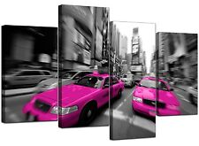 Large Black White Pink Taxi New York Canvas 130cm Wide Prints Set 4026