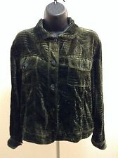 CHICO'S womens Green velvet Long Sleeve shirt Front Button Jacket Size 2 SXS