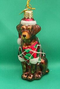 Noble Gems Glass Christmas Tree Decoration Dog - Chocolate Brown Labrador