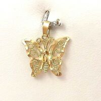 14K Yellow Gold Filigree Sparkly Cut Butterfly Charm Pendant 0.8gr
