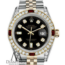Ladies SS & Gold Rolex 26mm Datejust Watch Black Dial with Ruby & Diamond RT