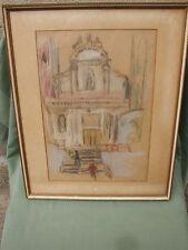 """TABLEAU DESSIN PASTEL CRAIE D'ART DEVANT L'EGLISE"""" BENGT HAMREN EN CADRE 1949"""