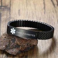 Black Men's Medical Alert Bracelet Spring Stretch Cuff Engraved TYPE 2 DIABETES