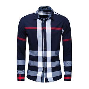 New Men's Random Plaid Shirt Long Sleeve Slim Fit Business Casual Cotton Shirts