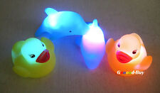 4PCS Baby Children Kids Bath Bathing Fun LED Flashing Duck Dolphin Toy Rubber