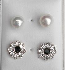 2 Pair Stud earrings 1 Silver Tone Clear and dark green crystal 1 x Faux Pearl