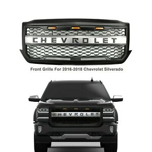 Front Grille for 2016-2018 Chevhrolet Silverado 1500 Black with Amber Led Lights