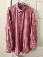 GAP Mens Shirt Long Sleeve Button Down Cotton Oxford Cloth Red Stripe  XL B14