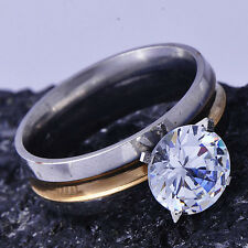 Twinkling Womens Yellow White Gold Filled Solitaire Wedding Ring Size 6#B1281