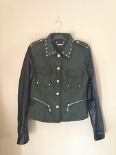 J2 GREEN & BLACK MOTO JACKET SPIKED COLLAR FAUX LEATHER SLEEVES JUNIOR M WOOL
