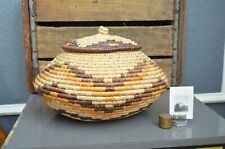 Round Rattan Storage Basket with Lid Handwoven Brown Decorative Tribal Boho Vtg