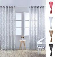 1PC Sheer Curtain Leaves Print Drape Panel Door Balcony Living Room Window Gauze