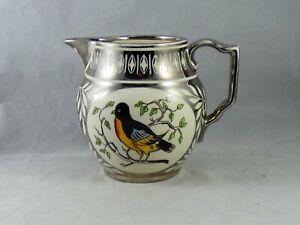 Lovely Grays Pottery Silver Lustre Bird Jug D237