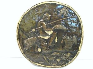 Nice BRONZE FISHING SCENE RELIEF PLAQUE ART SIGNED Hutton to AJ CAMPBELL