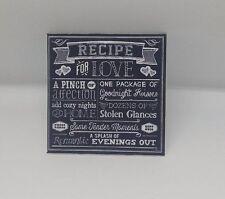 Handmade in miniatura casa bambole Accessorio tela stile quadro ricetta per amore
