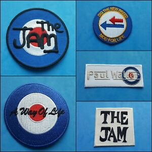 COLLECTION OF FIVE INDIVIDUAL SEW ON / IRON ON PATCHES:- THE JAM PAUL WELLER