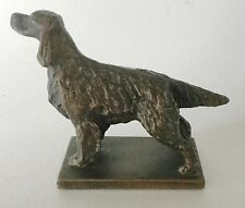 Bronze Finish Metal IRISH SETTER Dog on Plinth Figurine Lead, Pewter Vintage