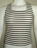 Perceptions Petite Womens Textured Sleeveless Top Size 10P Black White Layer Top
