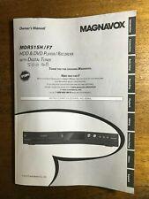 Magnavox Mdr515H/F7 operating user owner's instruction manual