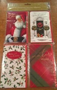 Pack of 4 Traditional Christmas Money Wallets with envelopes