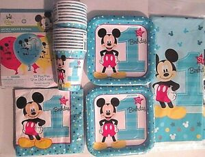 MICKEY MOUSE Fun To Be One 1st Birthday Party Supply Kit Pack for 16 w/Balloons