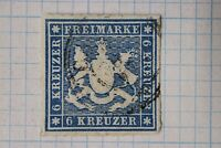 Germany Wurttemberg sc#43 Mi32c 6kr cv$52.50 used 4 huge margins Very Fine