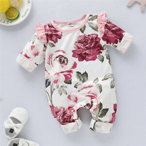 Newborn Baby Girls Outfits Clothes Floral Romper Bodysuit Jumpsuit Playsuit UK