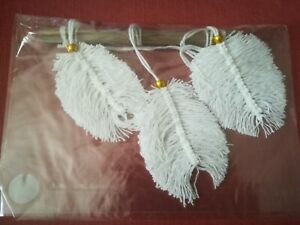 Macrame, White Feather Wall Hanging Natural Twig With Gold Coloured Beads Angel