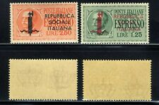 1944 Italian Social Rep.  Special Delivery Set E14 & E15 Overprinted in Red MNH
