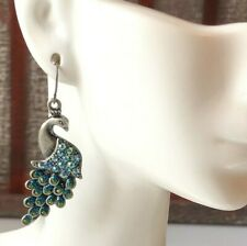 Peacock Earrings Dangle Crystal Peacocks | VintageFlowertop Jewelry