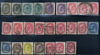 Canada #74/88 used F/VF 1898-1902 Queen Victoria Numeral cancels,shades,multiple