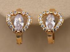 18K Gold Filled - Clear Zircon Heart Cat Eye Hollow Cocktail Women Hoop Earrings