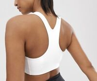 Nike Women's Sports Swoosh Bra Dry Fit Medium Support In White Size S