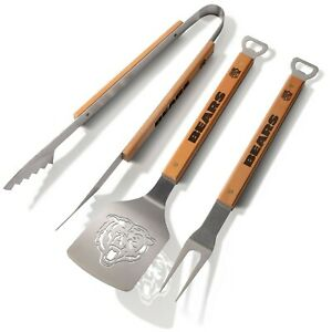 Chicago Bears 3 Piece BBQ Grill Tools Tongs Spatula Fork