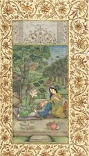 MINIATURE PERSIAN PAINTING OLD PAPER HAND PAINTED QUEEN WITH VAID (DOCTOR)