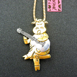 Fashion Betsey Johnson Gold Alloy Cute Dairy Cow Guitar Pendant Chain Necklace