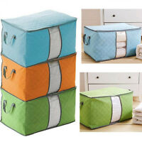 Clothes Quilt Blanket Storage Bag Foldable Organizer Charcoal Bamboo Zipper Box
